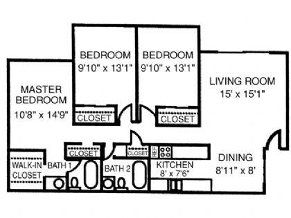 1,156 sq. ft. Castle floor plan