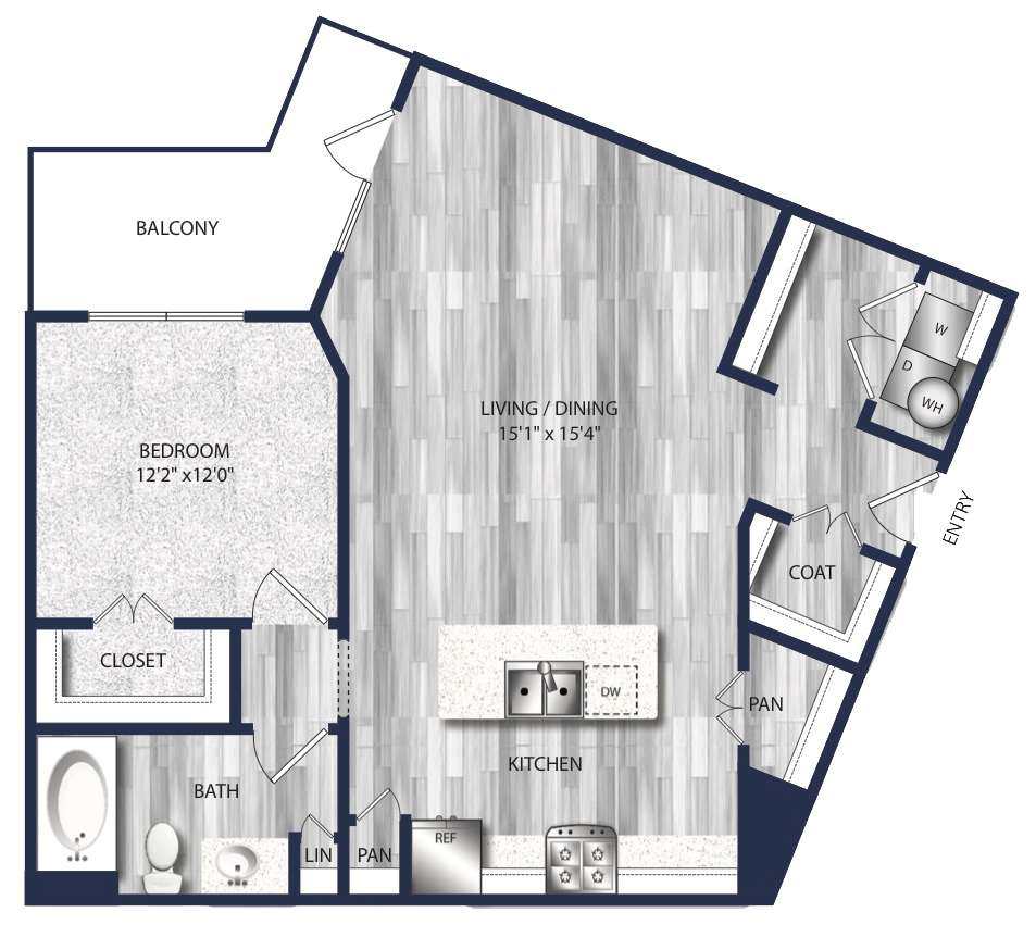 854 sq. ft. A6 floor plan