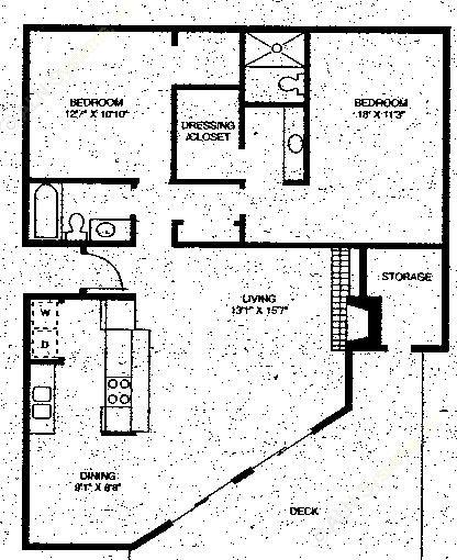 1,280 sq. ft. B2 floor plan