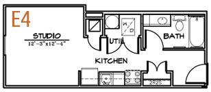 389 sq. ft. Smart Housing floor plan