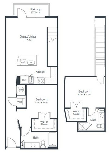 1,073 sq. ft. B5 floor plan