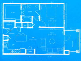 963 sq. ft. A5 floor plan