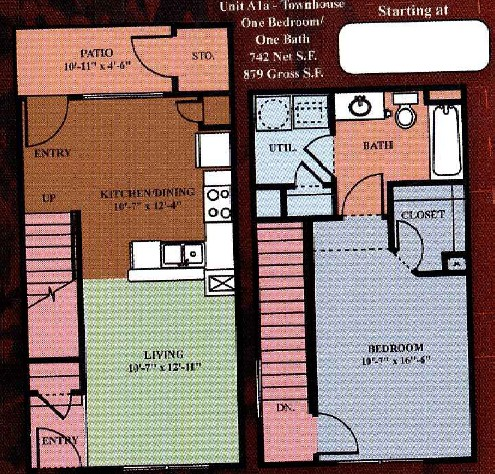 742 sq. ft. A1 30% floor plan