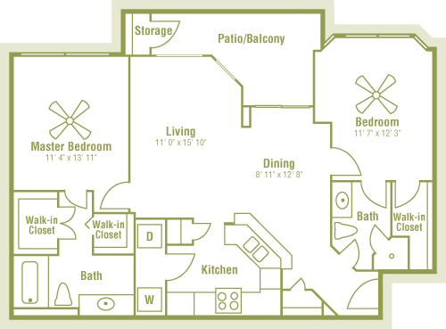 1,050 sq. ft. floor plan