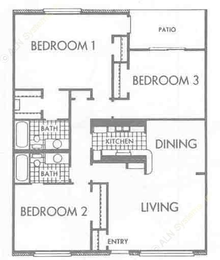 1,296 sq. ft. C1 floor plan