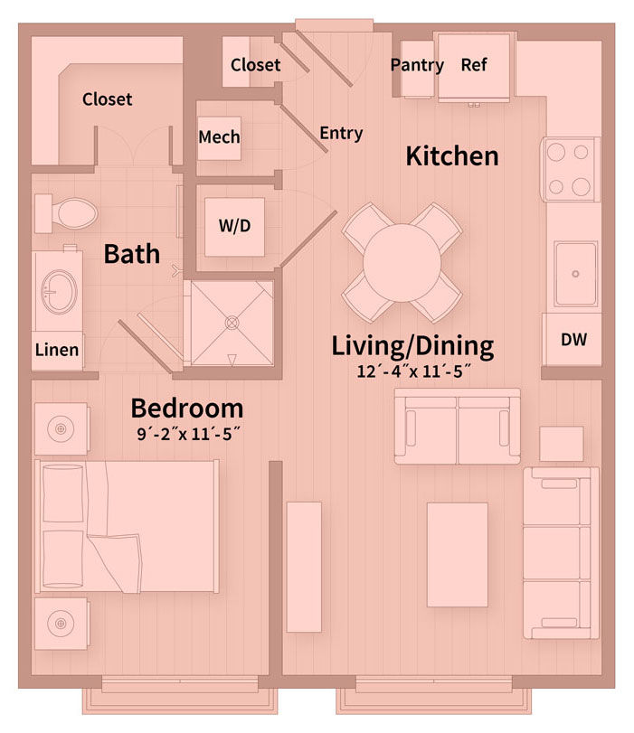 572 sq. ft. Eff floor plan