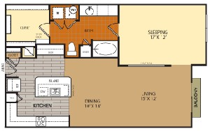 948 sq. ft. A6 floor plan