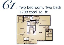 1,104 sq. ft. C floor plan