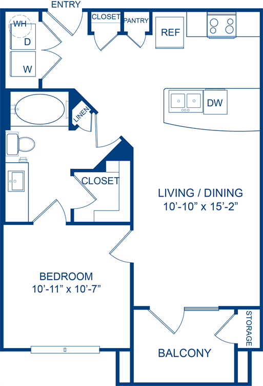 648 sq. ft. Bluebill floor plan