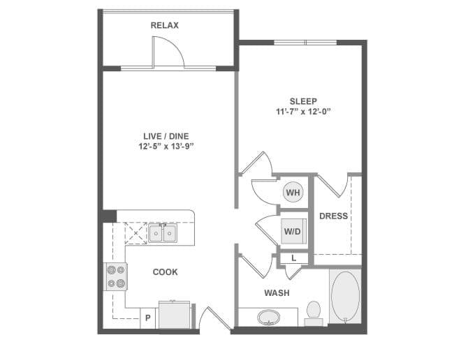 653 sq. ft. A2 floor plan