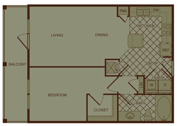 712 sq. ft. A1 floor plan