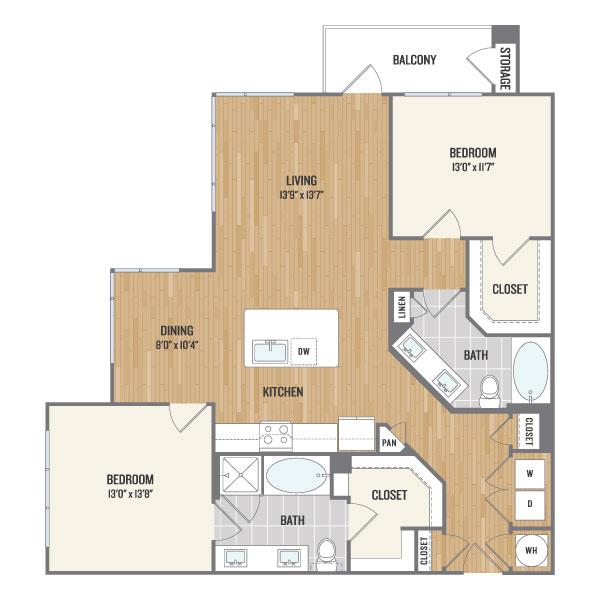 1,262 sq. ft. C4 floor plan