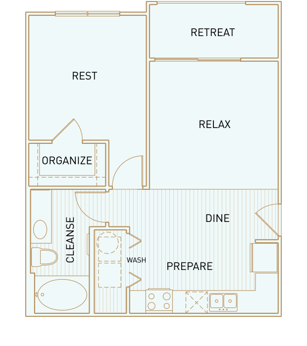 625 sq. ft. to 700 sq. ft. Travis floor plan