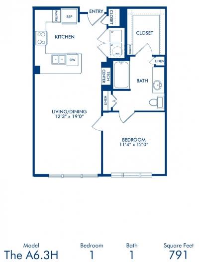 791 sq. ft. A6.3A floor plan