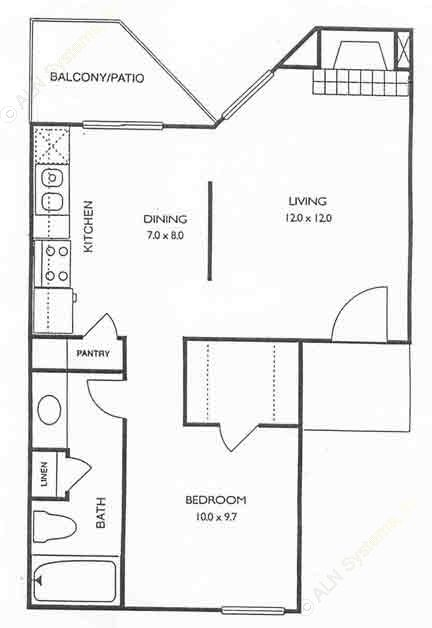 530 sq. ft. Creekview floor plan