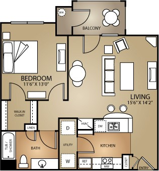 700 sq. ft. OAK 60 floor plan