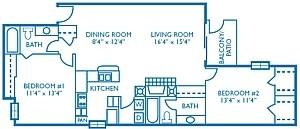 1,099 sq. ft. Birdie floor plan