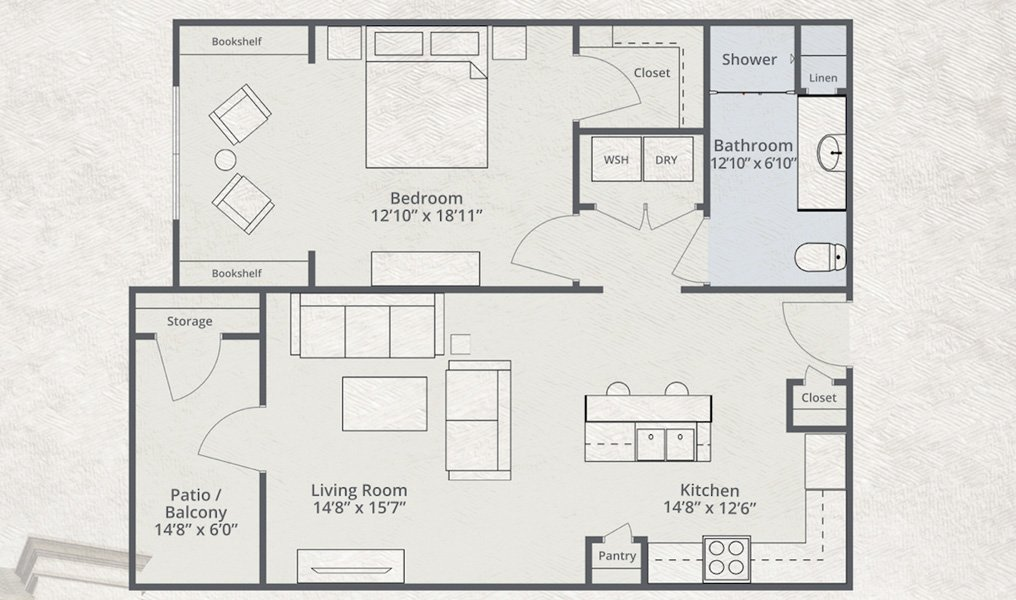 910 sq. ft. Jet Blue floor plan