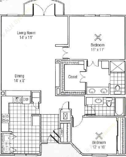 1,627 sq. ft. J floor plan
