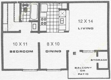 561 sq. ft. B floor plan