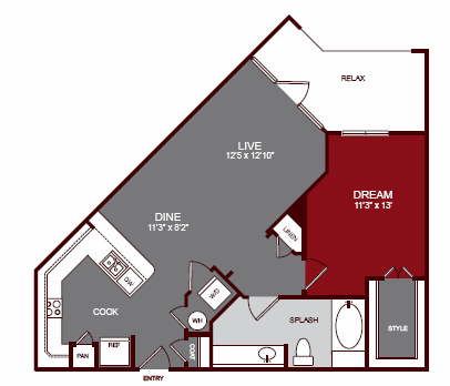789 sq. ft. A2-A floor plan