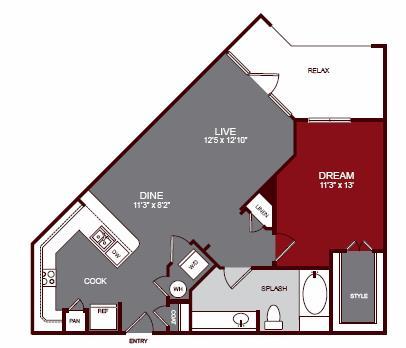 789 sq. ft. A2-A floor plan