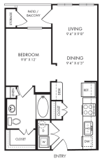 570 sq. ft. E1-1 floor plan