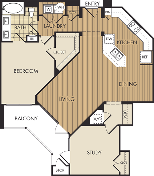1,075 sq. ft. A7 floor plan