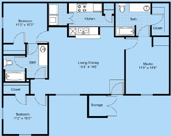 1,150 sq. ft. C1-Tesoro floor plan