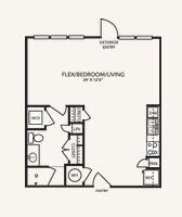 648 sq. ft. A1ELW floor plan