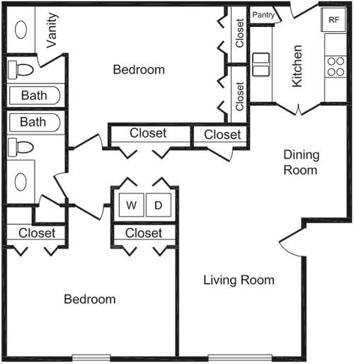 1,028 sq. ft. floor plan