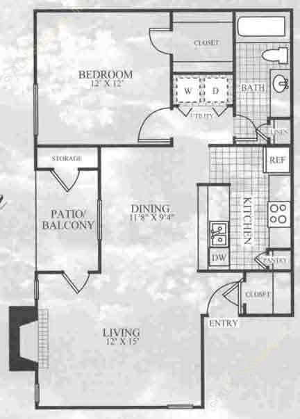 743 sq. ft. A1C floor plan