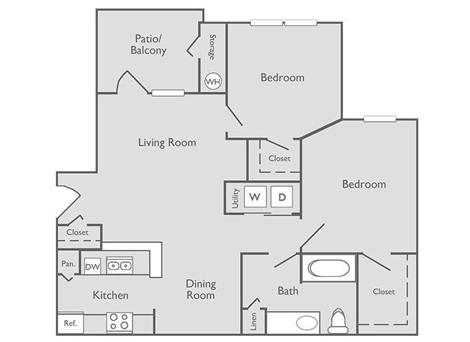 880 sq. ft. B-1 floor plan