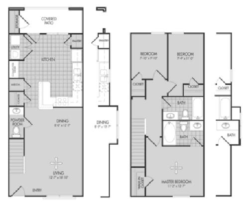 1,170 sq. ft. Oak/60% floor plan