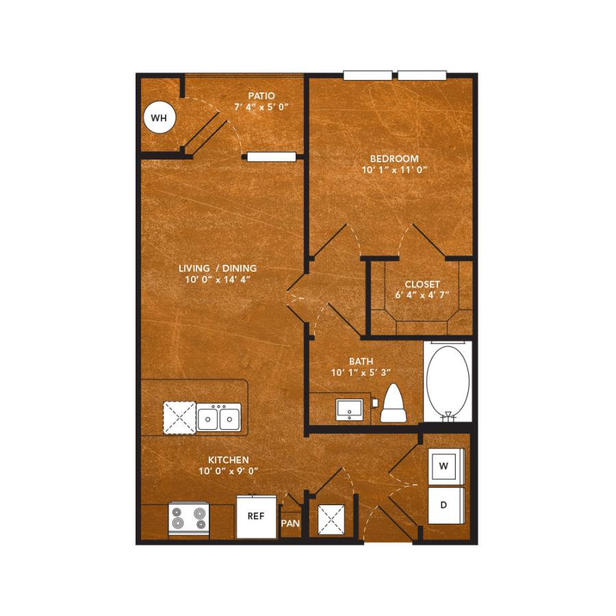 557 sq. ft. A2F floor plan