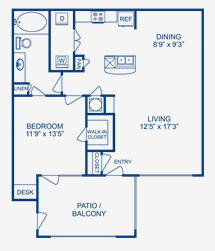 823 sq. ft. Trinity floor plan