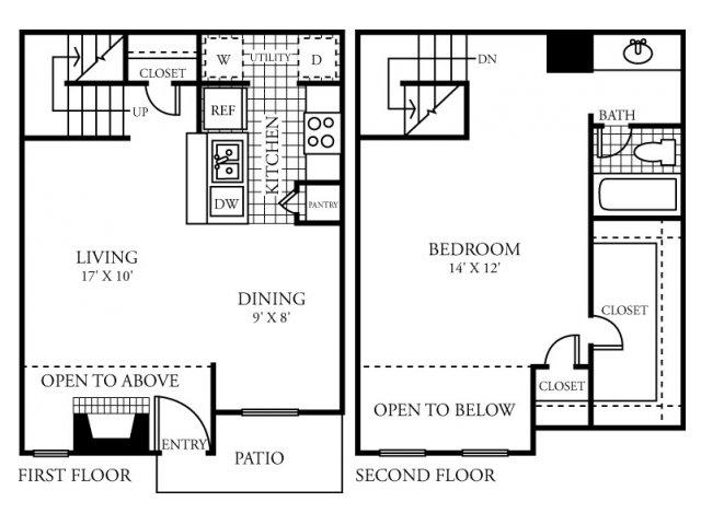 818 sq. ft. E floor plan