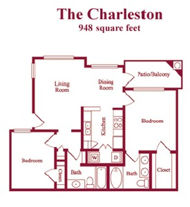 948 sq. ft. Charleston floor plan