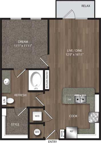 696 sq. ft. A1 floor plan