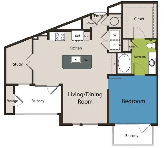 882 sq. ft. A8 floor plan