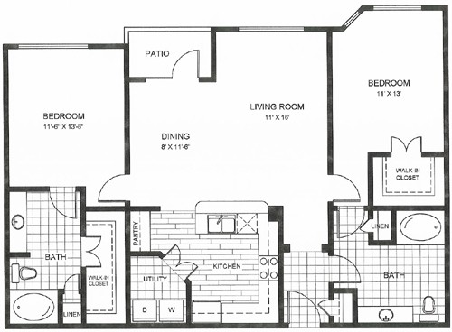 1,097 sq. ft. to 1,144 sq. ft. GUADALUP floor plan