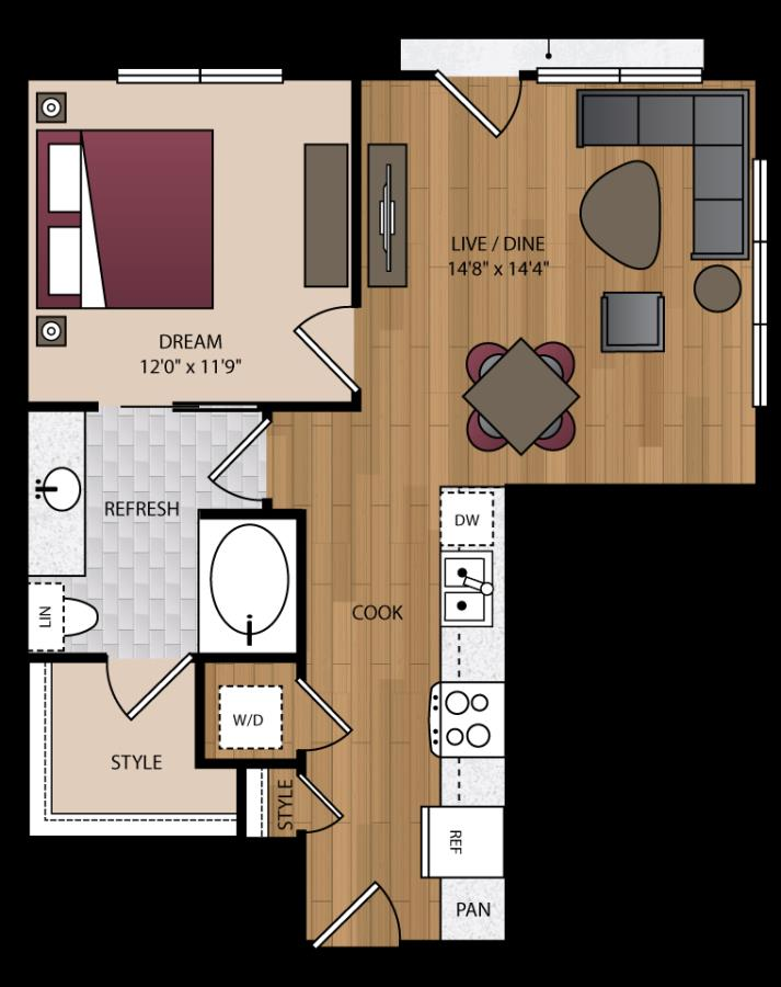 719 sq. ft. A6 floor plan