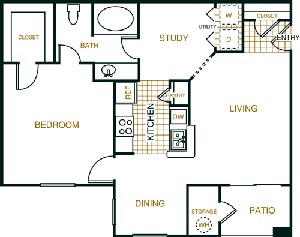 875 sq. ft. A2 floor plan