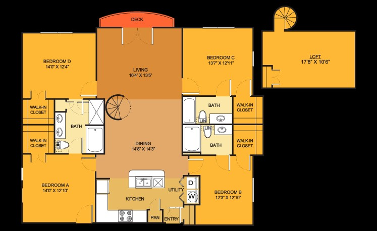 1,691 sq. ft. D1 floor plan