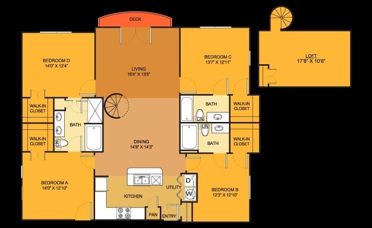 1,884 sq. ft. D1 Loft floor plan