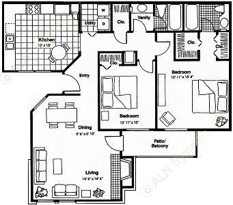 1,060 sq. ft. E floor plan