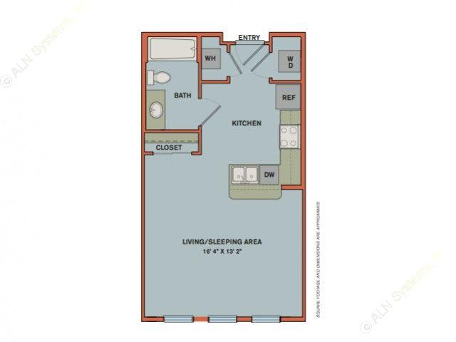 505 sq. ft. S1 floor plan