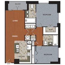 1,162 sq. ft. B4-PH floor plan