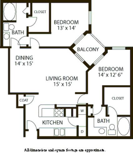 1,428 sq. ft. B6 floor plan