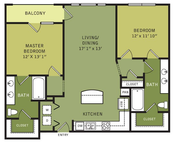 1,112 sq. ft. B1 (II) floor plan